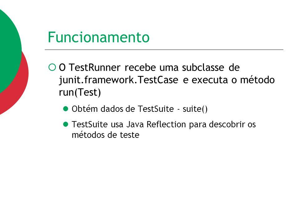 Funcionamento O TestRunner recebe uma subclasse de junit.framework.TestCase e executa o método run(Test)