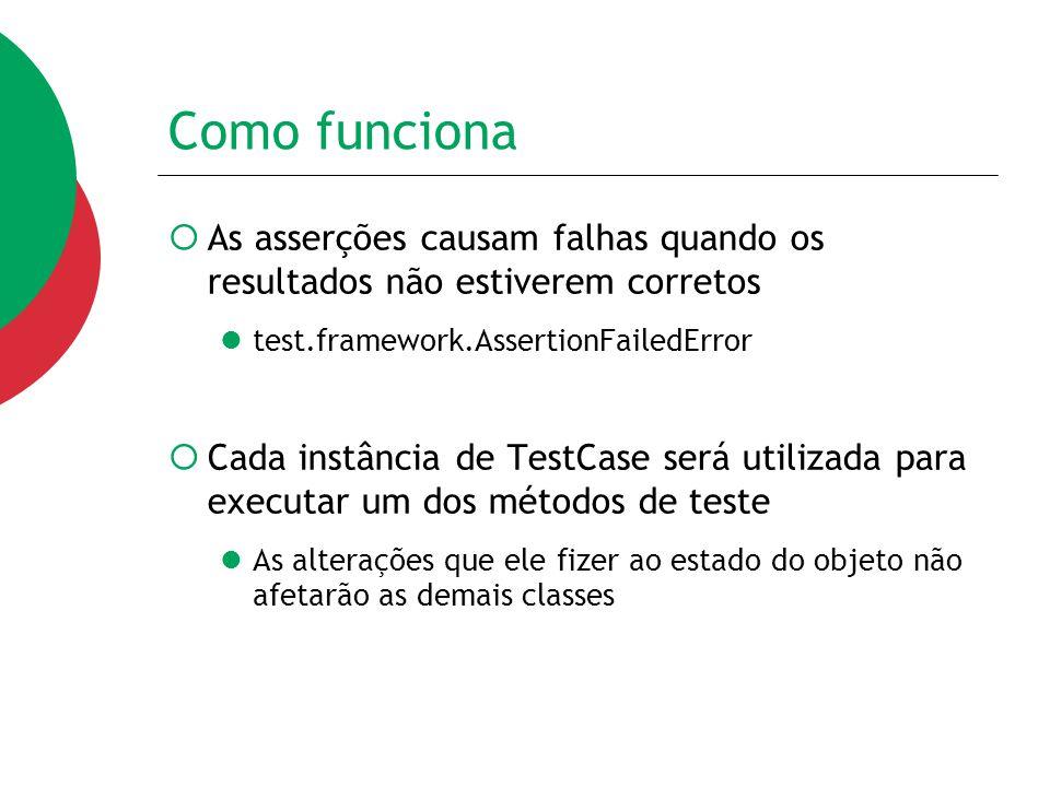 Como funciona As asserções causam falhas quando os resultados não estiverem corretos. test.framework.AssertionFailedError.