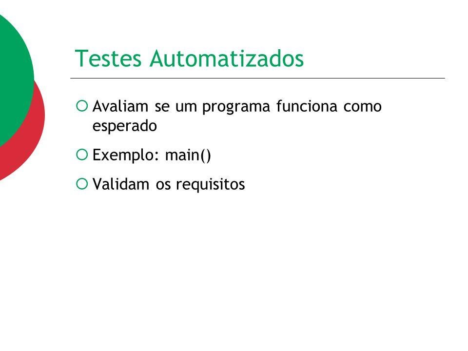 Testes Automatizados Avaliam se um programa funciona como esperado