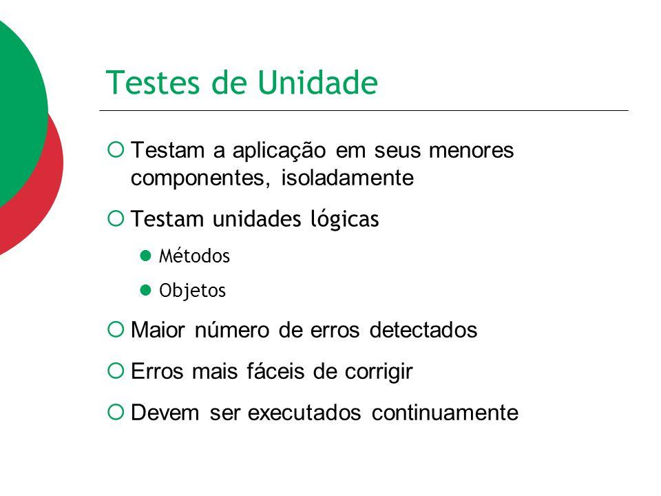 Testes de Unidade Testam a aplicação em seus menores componentes, isoladamente. Testam unidades lógicas.