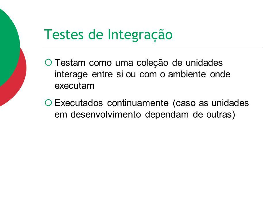 Testes de Integração Testam como uma coleção de unidades interage entre si ou com o ambiente onde executam.