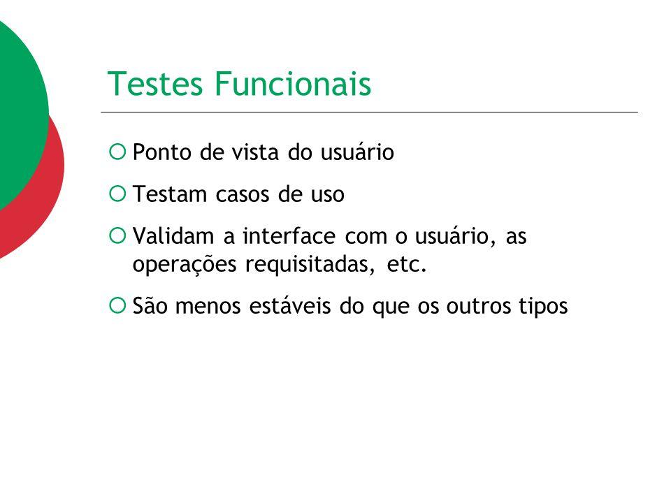 Testes Funcionais Ponto de vista do usuário Testam casos de uso