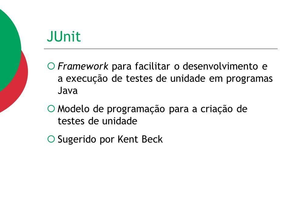 JUnit Framework para facilitar o desenvolvimento e a execução de testes de unidade em programas Java.