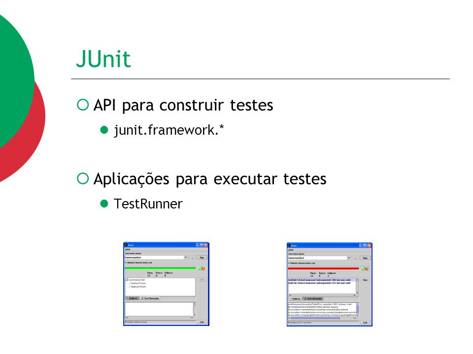 JUnit API para construir testes Aplicações para executar testes