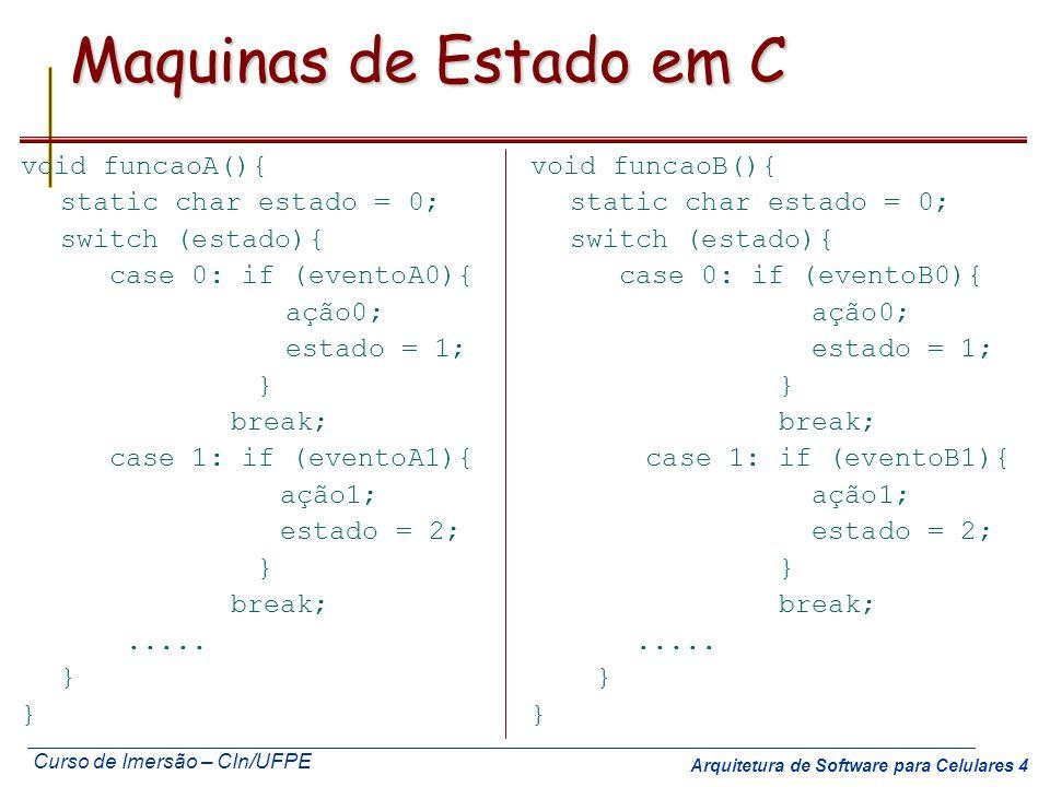 Maquinas de Estado em C void funcaoA(){ static char estado = 0;