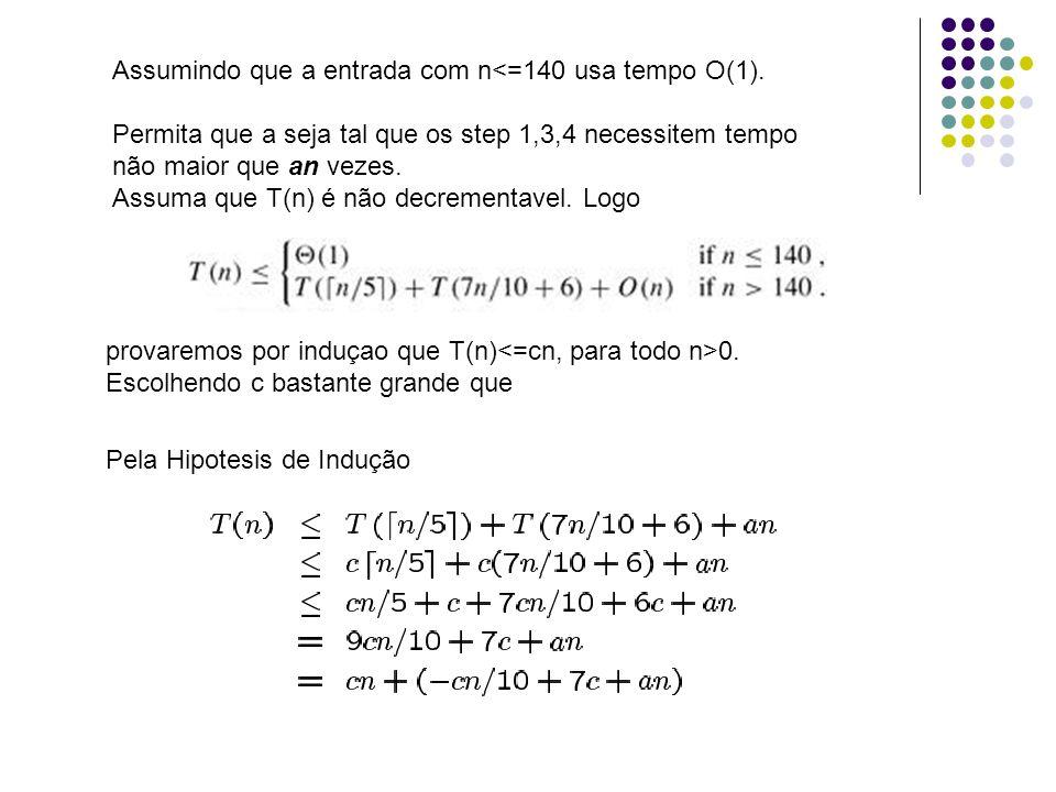 Assumindo que a entrada com n<=140 usa tempo O(1).