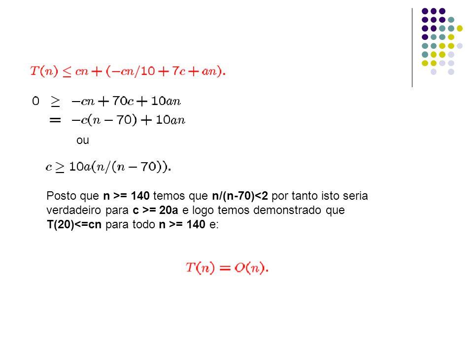 ou Posto que n >= 140 temos que n/(n-70)<2 por tanto isto seria. verdadeiro para c >= 20a e logo temos demonstrado que.