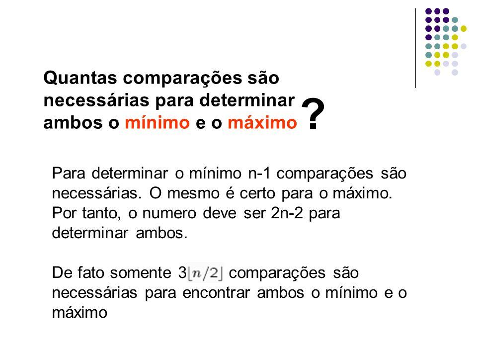 Quantas comparações são necessárias para determinar ambos o mínimo e o máximo