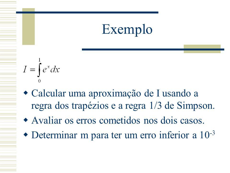 Exemplo Calcular uma aproximação de I usando a regra dos trapézios e a regra 1/3 de Simpson. Avaliar os erros cometidos nos dois casos.