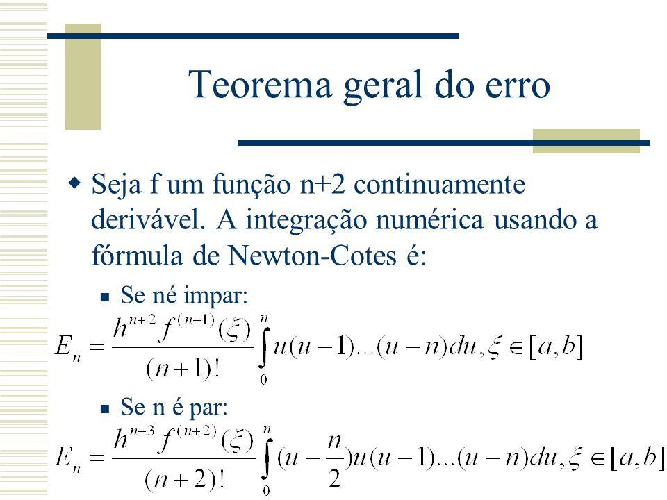 Teorema geral do erro Seja f um função n+2 continuamente derivável. A integração numérica usando a fórmula de Newton-Cotes é: