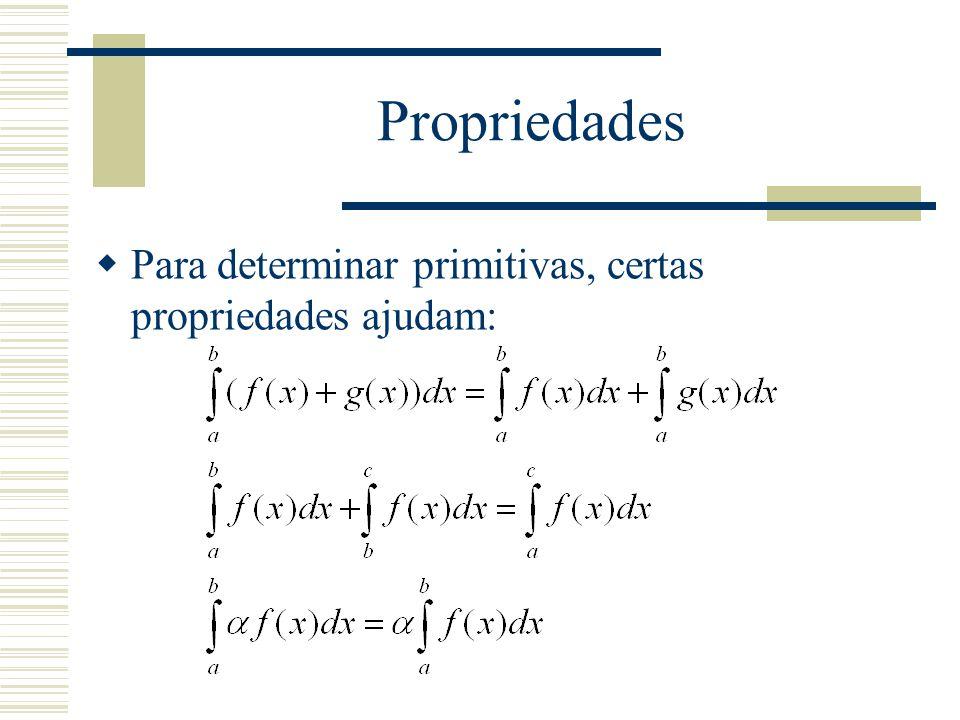Propriedades Para determinar primitivas, certas propriedades ajudam: