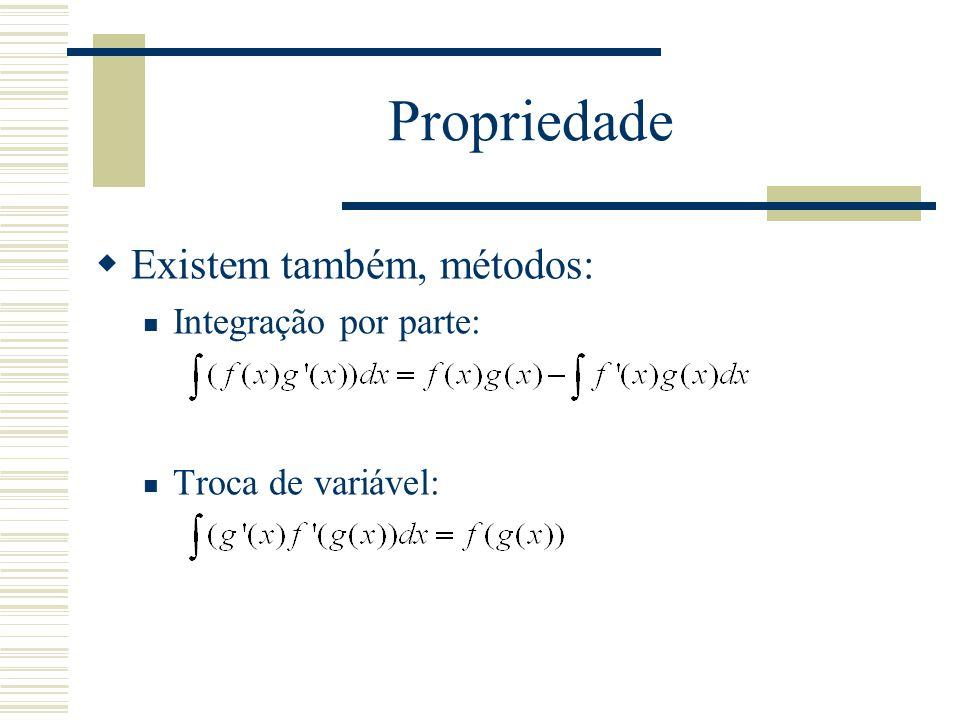 Propriedade Existem também, métodos: Integração por parte: