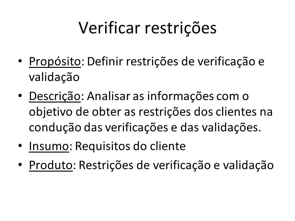 Verificar restrições Propósito: Definir restrições de verificação e validação.