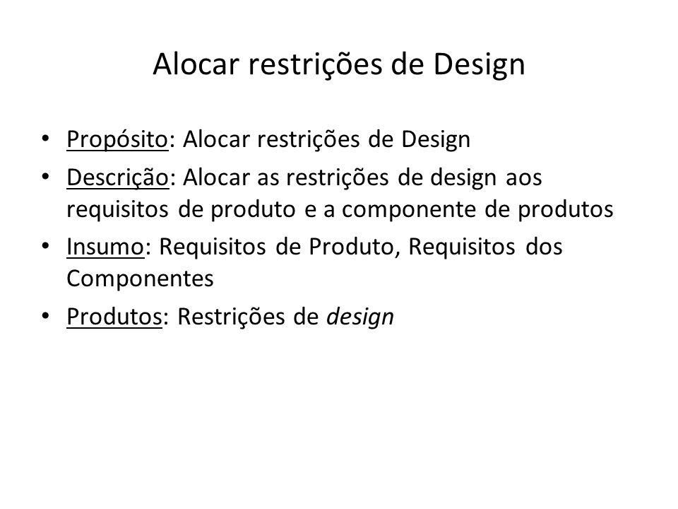 Alocar restrições de Design