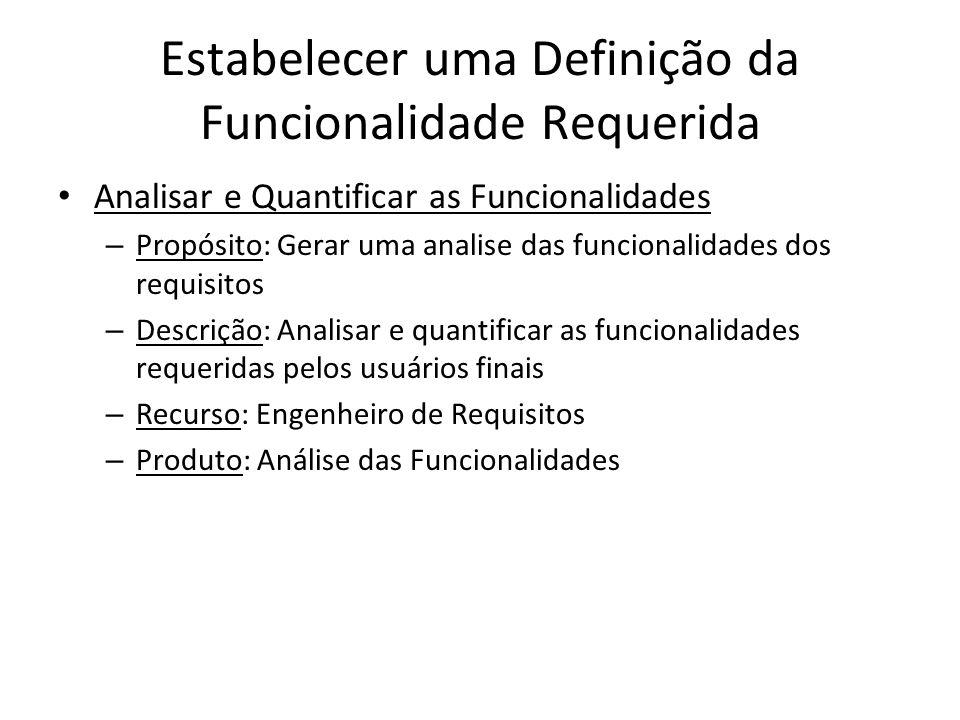 Estabelecer uma Definição da Funcionalidade Requerida