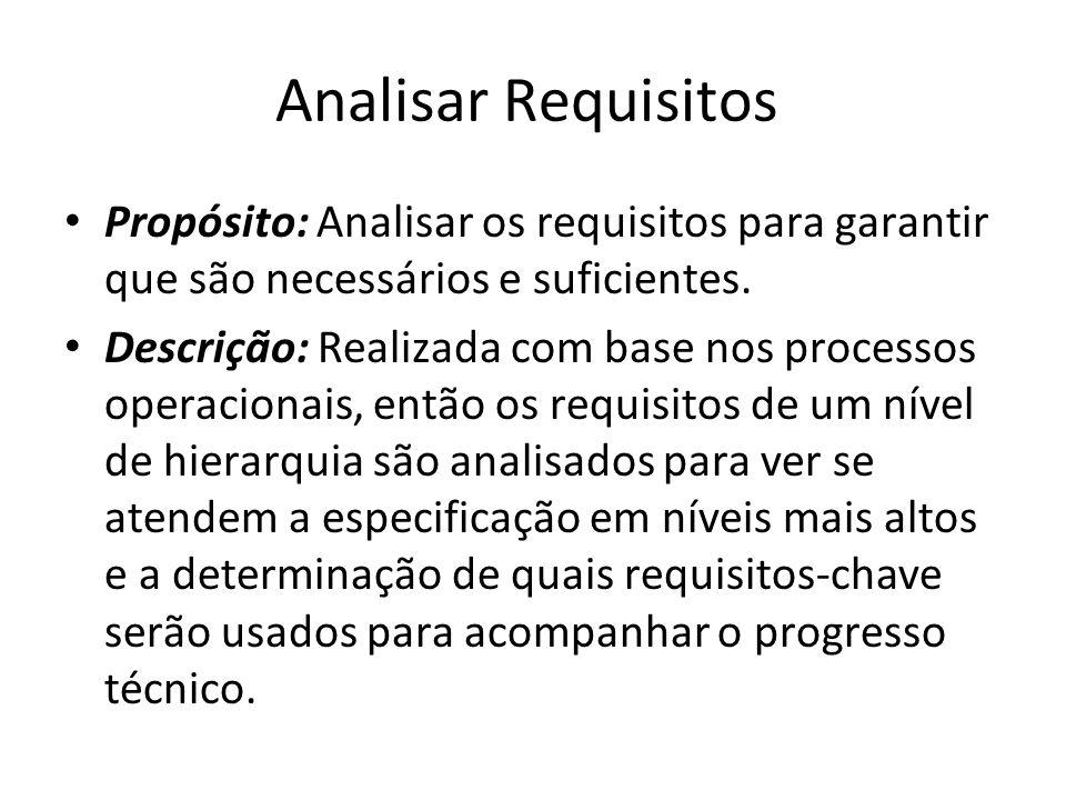 Analisar Requisitos Propósito: Analisar os requisitos para garantir que são necessários e suficientes.