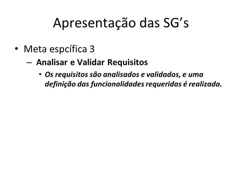 Apresentação das SG's Meta espcífica 3 Analisar e Validar Requisitos