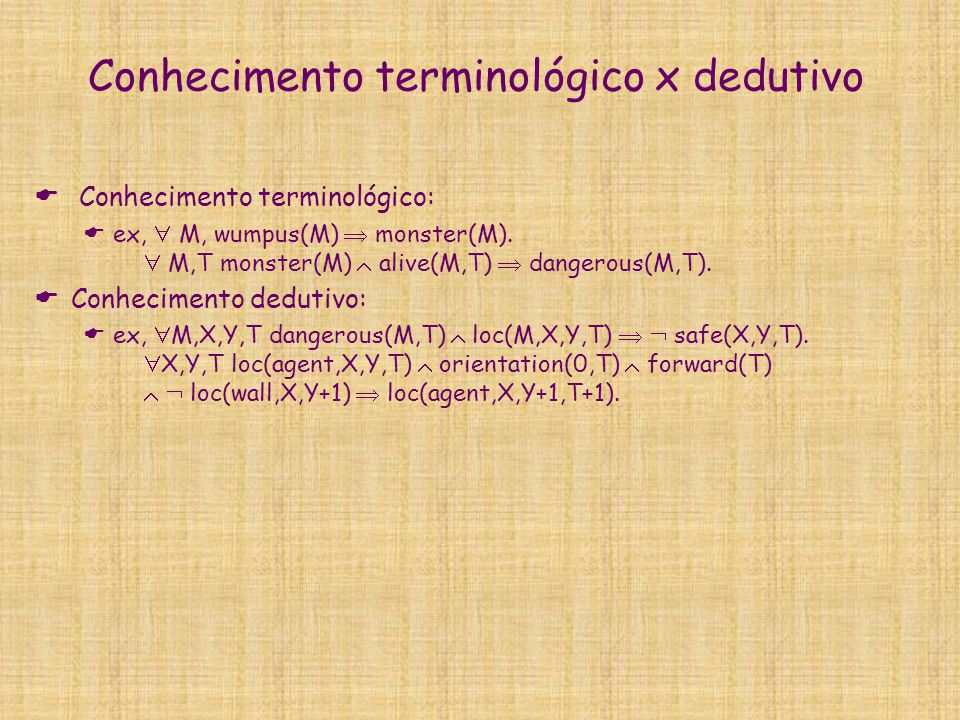 Conhecimento terminológico x dedutivo