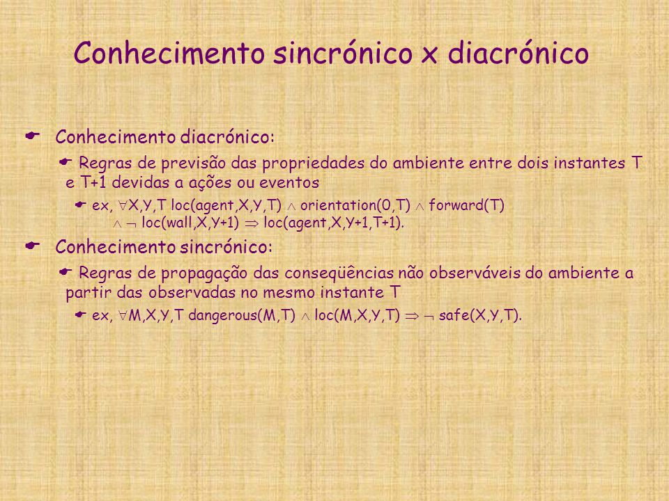 Conhecimento sincrónico x diacrónico