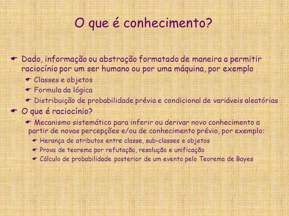 O que é conhecimento Dado, informação ou abstração formatado de maneira a permitir raciocínio por um ser humano ou por uma máquina, por exemplo.
