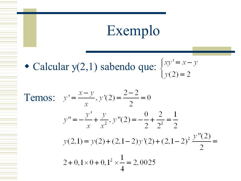 Exemplo Calcular y(2,1) sabendo que: Temos: