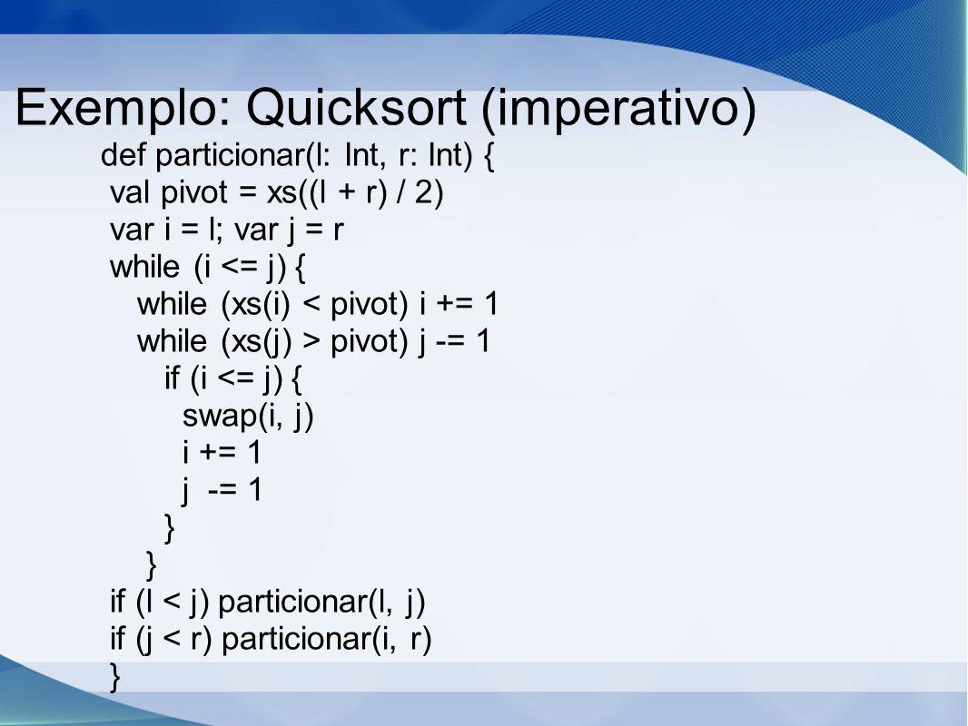 Exemplo: Quicksort (imperativo)