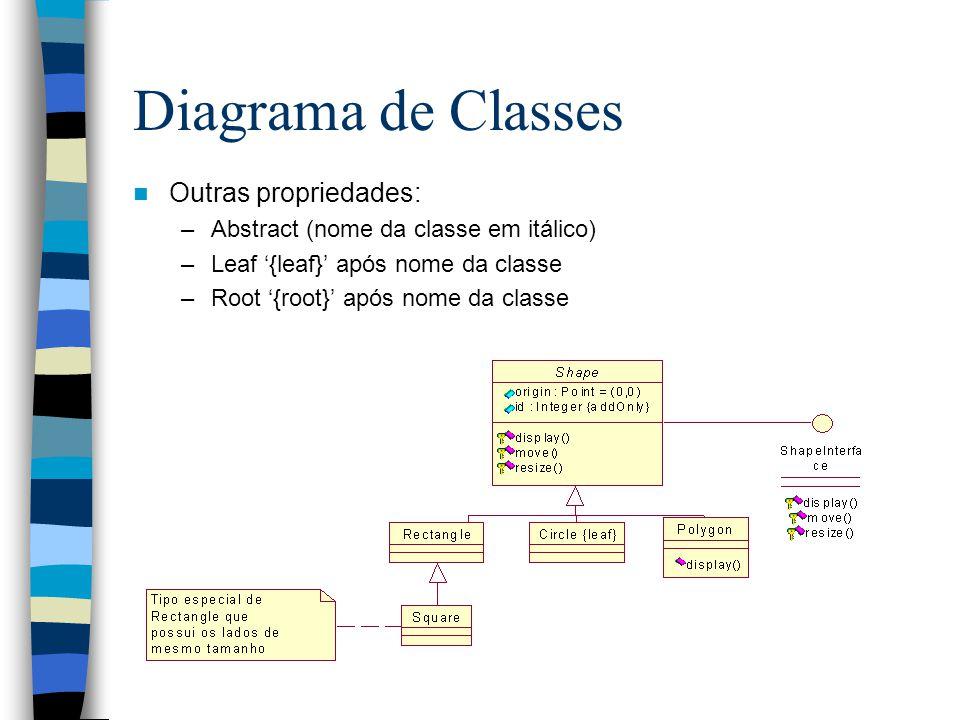 Diagrama de Classes Outras propriedades: