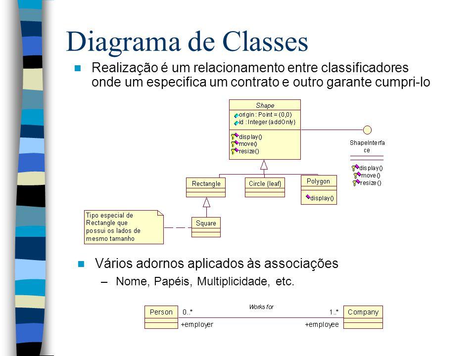 Diagrama de Classes Realização é um relacionamento entre classificadores onde um especifica um contrato e outro garante cumpri-lo.