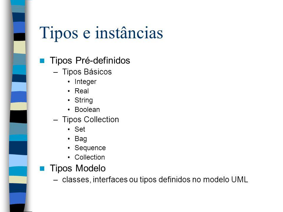 Tipos e instâncias Tipos Pré-definidos Tipos Modelo Tipos Básicos