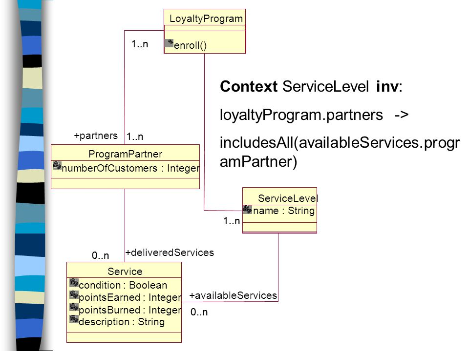 Context ServiceLevel inv: loyaltyProgram.partners ->