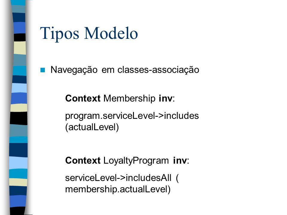 Tipos Modelo Navegação em classes-associação Context Membership inv: