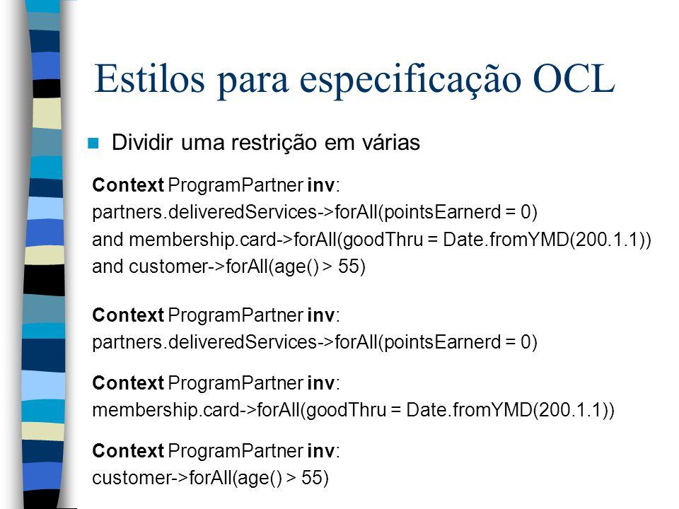 Estilos para especificação OCL