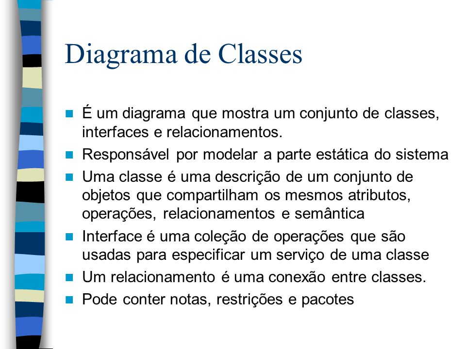 Diagrama de Classes É um diagrama que mostra um conjunto de classes, interfaces e relacionamentos.