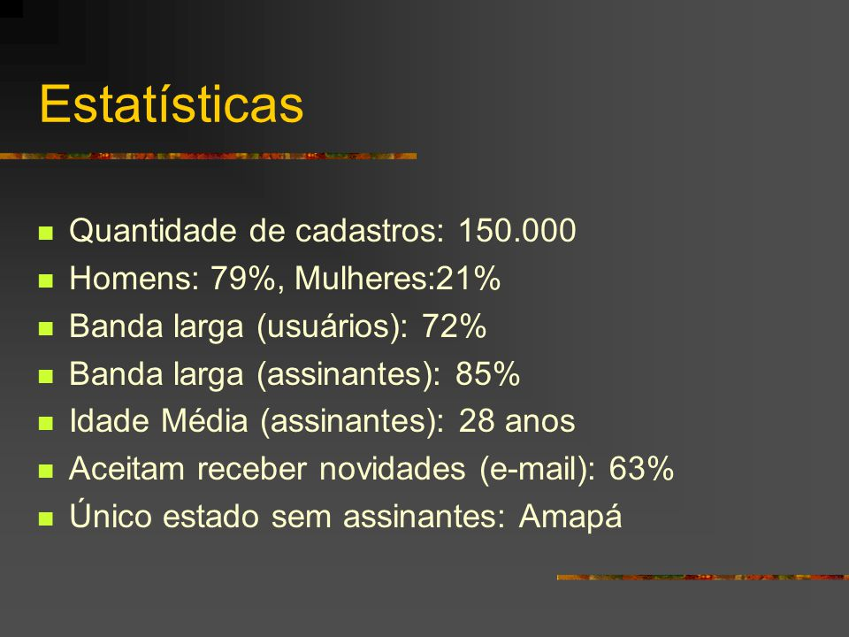 Estatísticas Quantidade de cadastros: 150.000