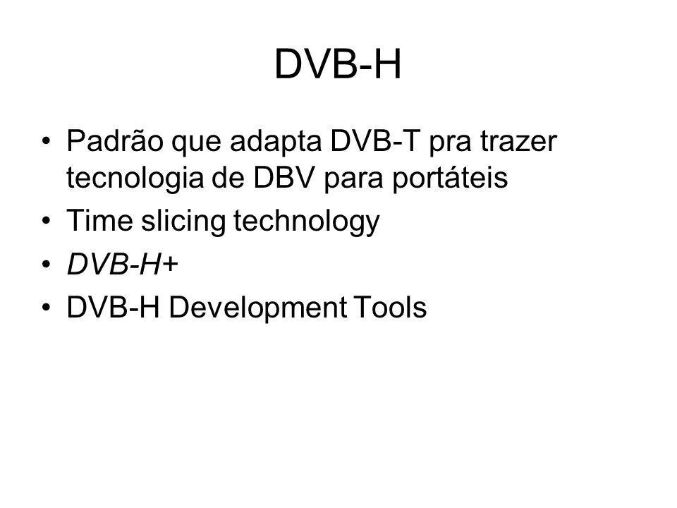 DVB-H Padrão que adapta DVB-T pra trazer tecnologia de DBV para portáteis. Time slicing technology.