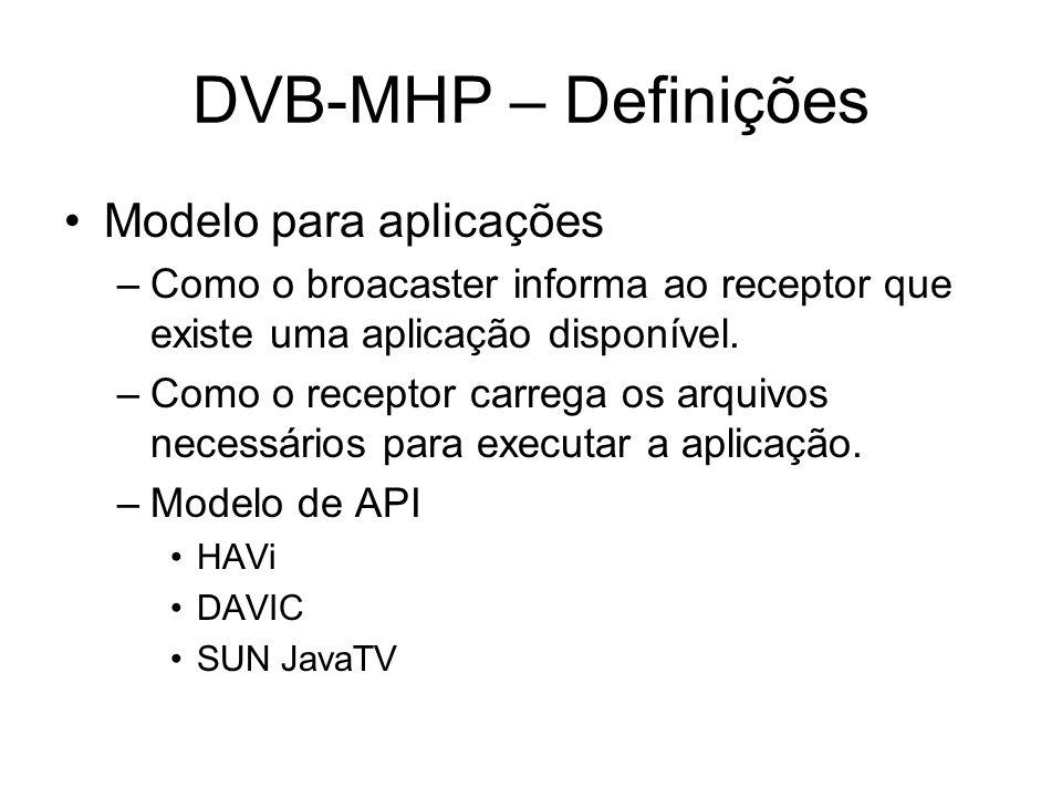 DVB-MHP – Definições Modelo para aplicações