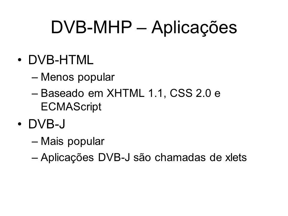 DVB-MHP – Aplicações DVB-HTML DVB-J Menos popular