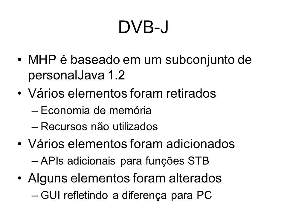 DVB-J MHP é baseado em um subconjunto de personalJava 1.2