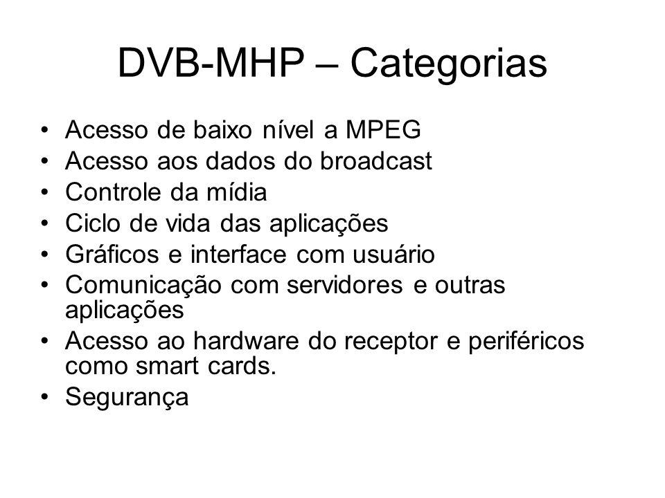 DVB-MHP – Categorias Acesso de baixo nível a MPEG