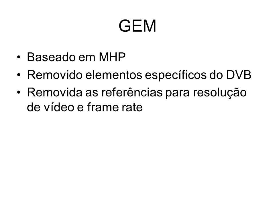 GEM Baseado em MHP Removido elementos específicos do DVB