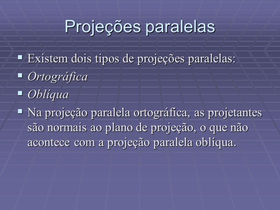 Projeções paralelas Existem dois tipos de projeções paralelas: