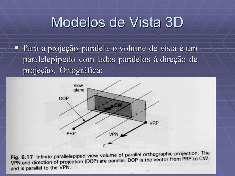 Modelos de Vista 3D Para a projeção paralela o volume de vista é um paralelepípedo com lados paralelos à direção de projeção.