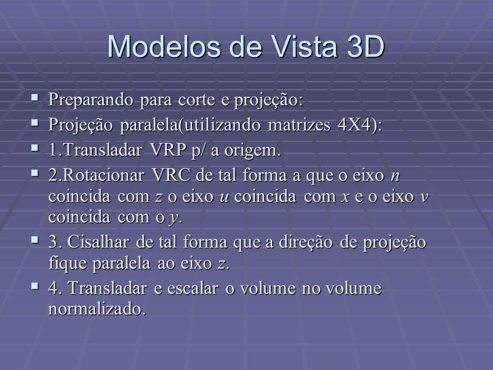 Modelos de Vista 3D Preparando para corte e projeção: