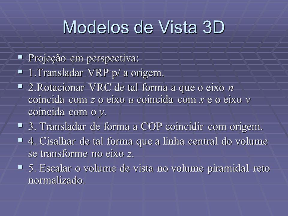 Modelos de Vista 3D Projeção em perspectiva:
