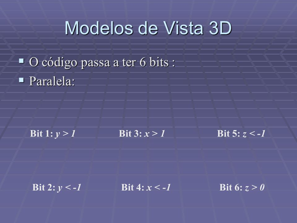 Modelos de Vista 3D O código passa a ter 6 bits : Paralela: