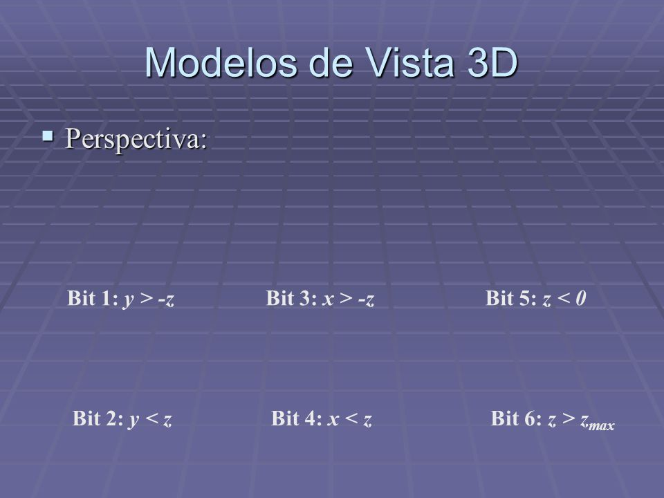 Modelos de Vista 3D Perspectiva: Bit 1: y > -z Bit 3: x > -z