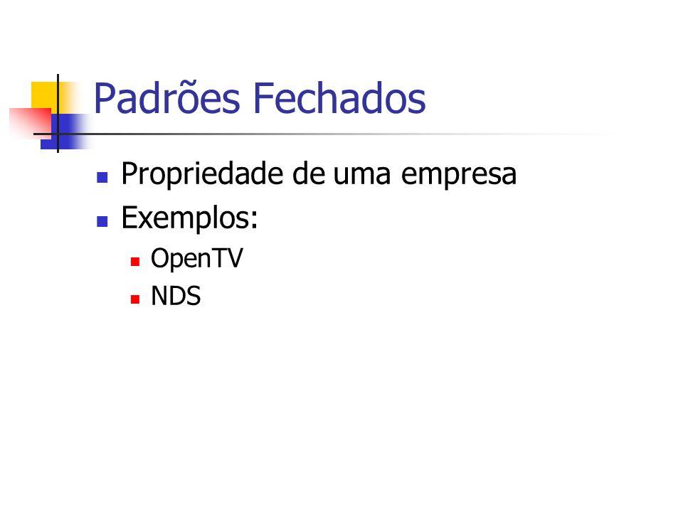 Padrões Fechados Propriedade de uma empresa Exemplos: OpenTV NDS