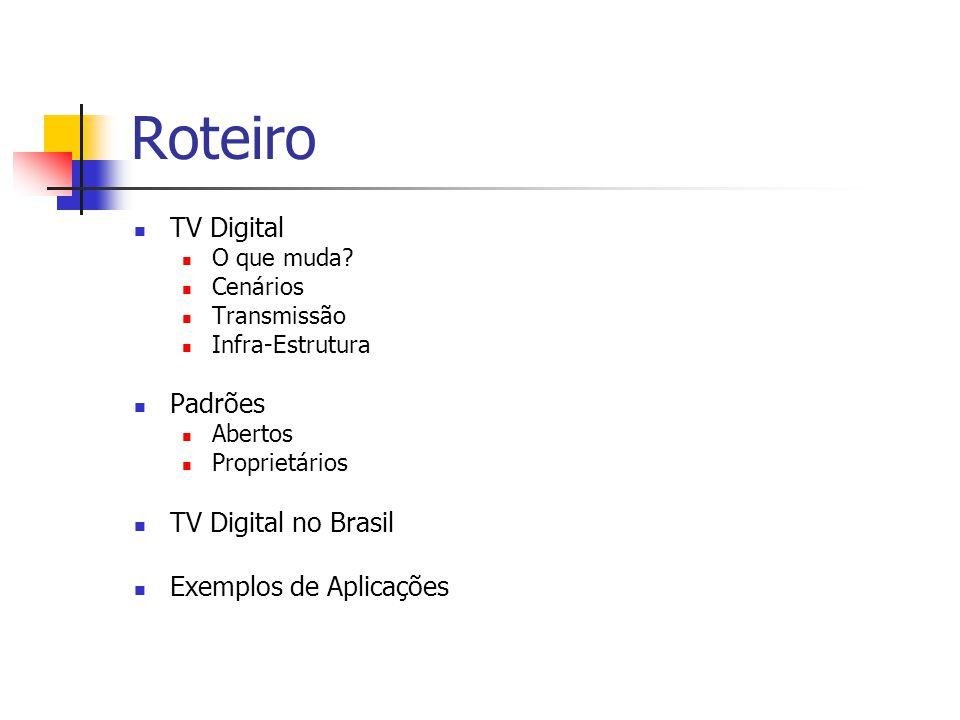 Roteiro TV Digital Padrões TV Digital no Brasil Exemplos de Aplicações