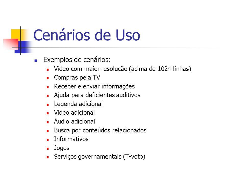 Cenários de Uso Exemplos de cenários: