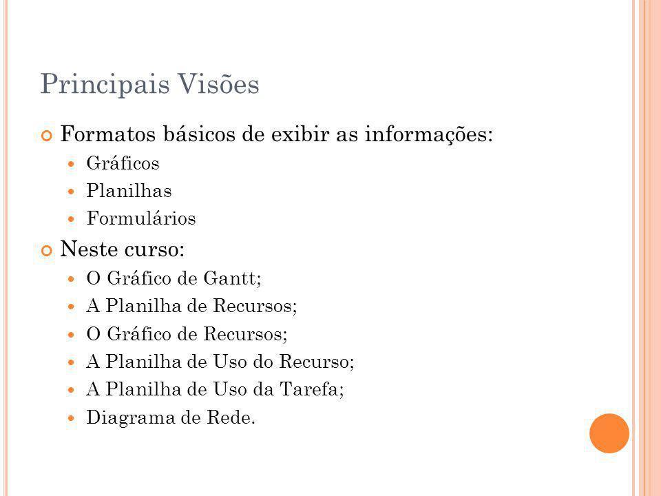 Principais Visões Formatos básicos de exibir as informações: